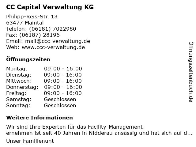 CC Capital Verwaltung KG in Maintal: Adresse und Öffnungszeiten
