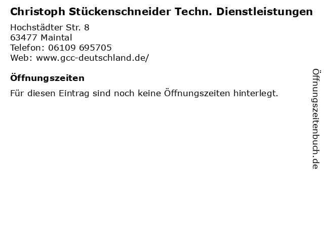 Christoph Stückenschneider Techn. Dienstleistungen in Maintal: Adresse und Öffnungszeiten
