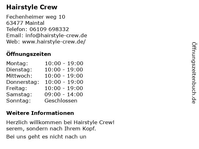 Ffnungszeiten Hairstyle Crew Fechenheimer Weg 10 In Maintal
