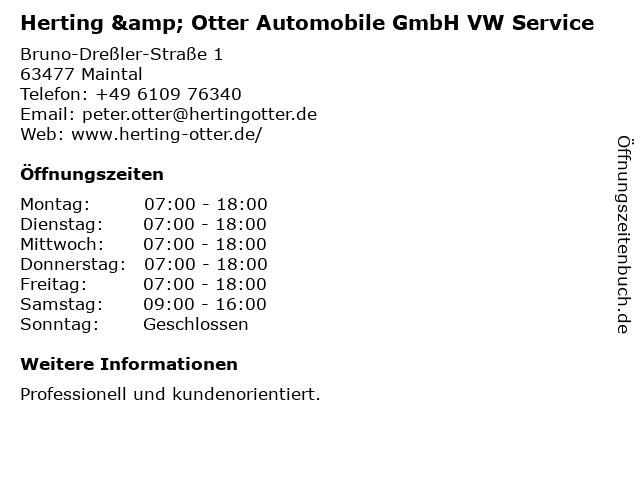 Herting & Otter Automobile GmbH VW Service in Maintal: Adresse und Öffnungszeiten