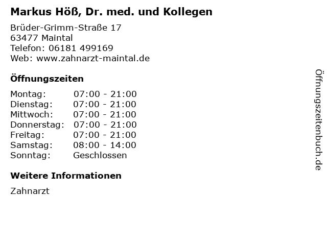 Markus Höß, Dr. med. und Kollegen in Maintal: Adresse und Öffnungszeiten