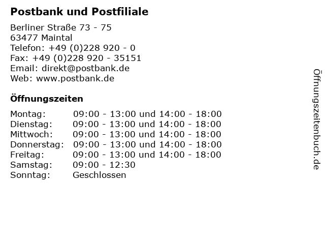 Postbank und Postfiliale in Maintal: Adresse und Öffnungszeiten