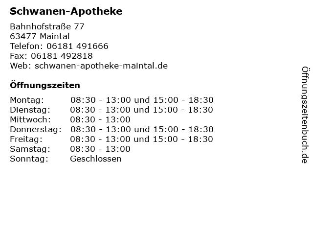 Schwanen-Apotheke in Maintal: Adresse und Öffnungszeiten