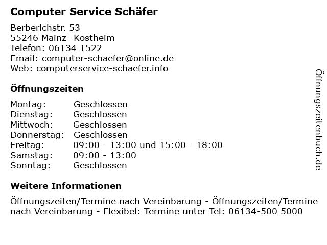 Computer Service Schäfer in Mainz- Kostheim: Adresse und Öffnungszeiten