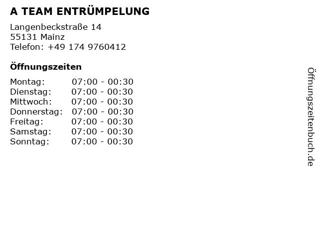 A TEAM ENTRÜMPELUNG in Mainz: Adresse und Öffnungszeiten