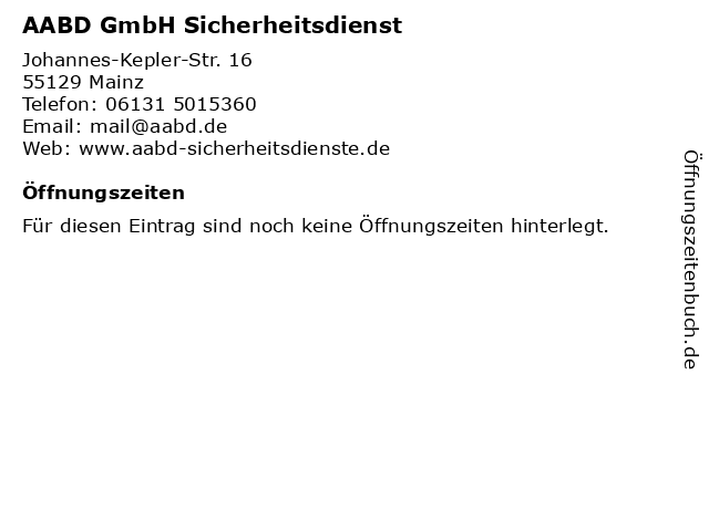 AABD GmbH Sicherheitsdienst in Mainz: Adresse und Öffnungszeiten