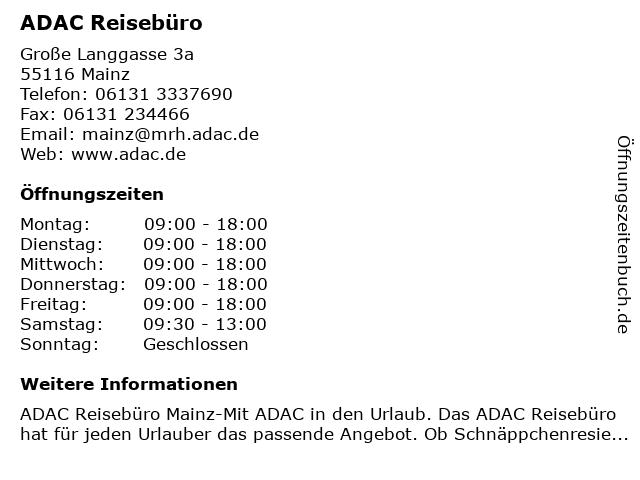ADAC Reisebüro in Mainz: Adresse und Öffnungszeiten