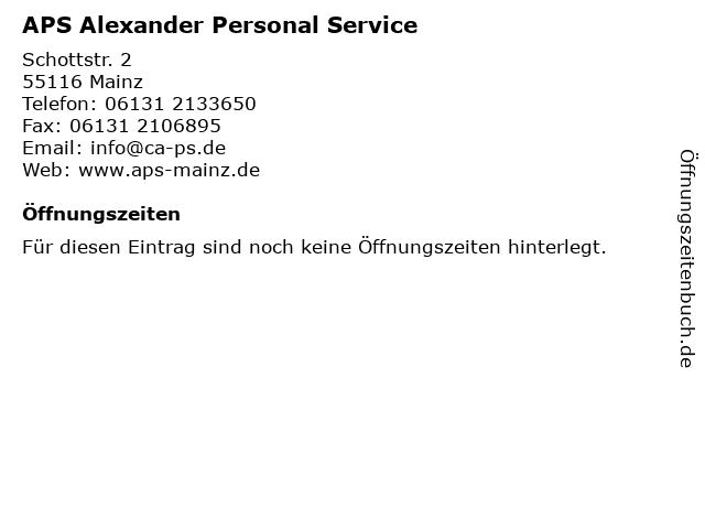 APS Alexander Personal Service in Mainz: Adresse und Öffnungszeiten