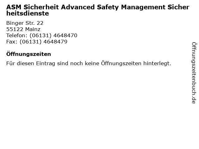 ASM Sicherheit Advanced Safety Management Sicherheitsdienste in Mainz: Adresse und Öffnungszeiten