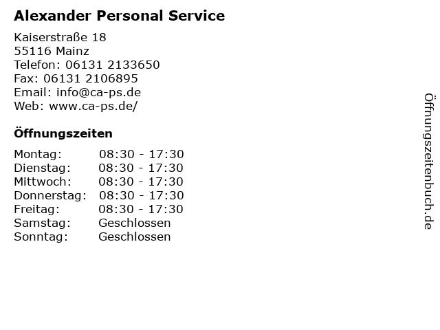 Alexander Personal Service in Mainz: Adresse und Öffnungszeiten