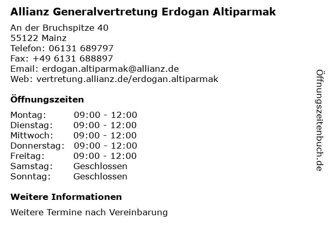 Allianz Generalvertretung Erdogan Altiparmak in Mainz: Adresse und Öffnungszeiten