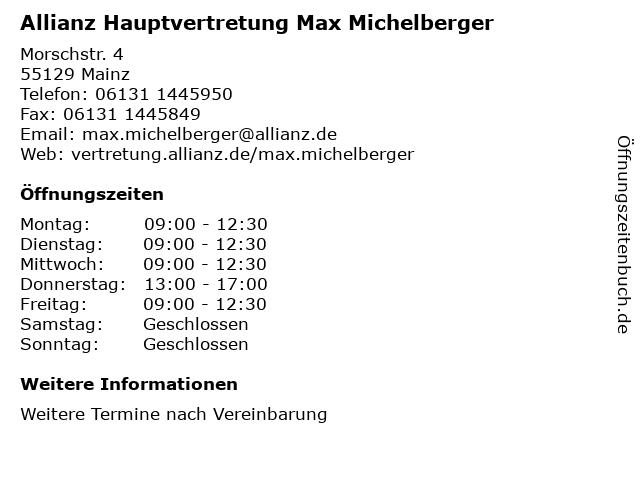 Allianz Hauptvertretung Max Michelberger in Mainz: Adresse und Öffnungszeiten