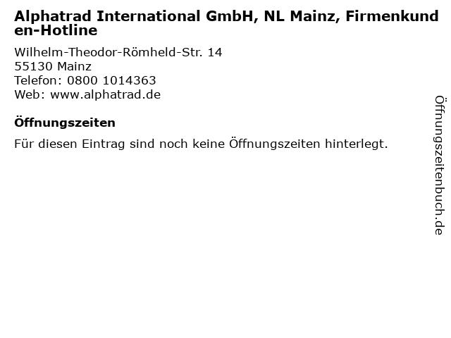 Alphatrad International GmbH, NL Mainz, Firmenkunden-Hotline in Mainz: Adresse und Öffnungszeiten