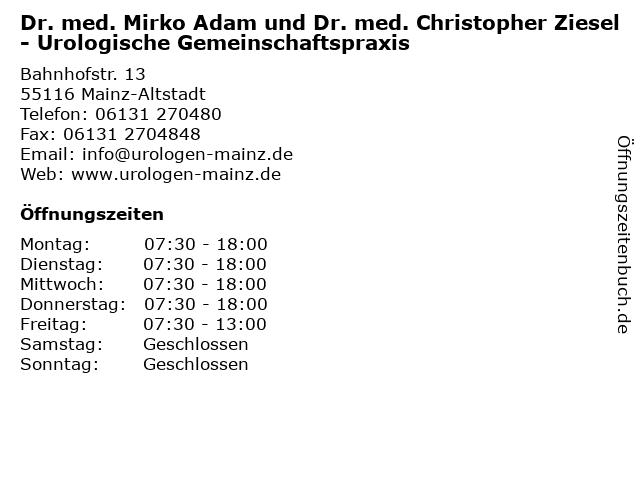 Dr. med. Mirko Adam und Dr. med. Christopher Ziesel - Urologische Gemeinschaftspraxis in Mainz-Altstadt: Adresse und Öffnungszeiten