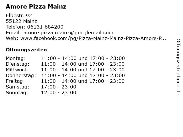 Amore Pizza Mainz in Mainz: Adresse und Öffnungszeiten