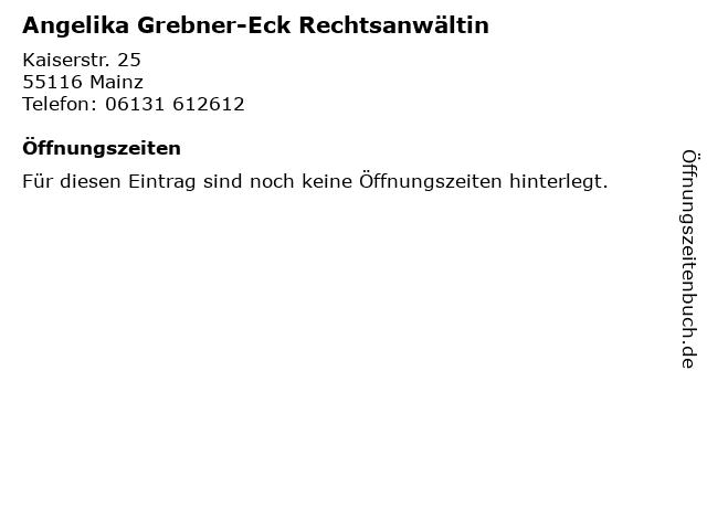 Angelika Grebner-Eck Rechtsanwältin in Mainz: Adresse und Öffnungszeiten