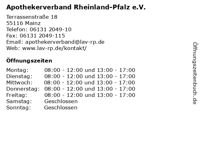 Apothekerverband Rheinland-Pfalz e.V. in Mainz: Adresse und Öffnungszeiten