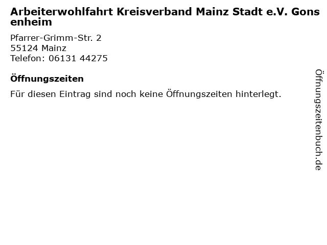 Arbeiterwohlfahrt Kreisverband Mainz Stadt e.V. Gonsenheim in Mainz: Adresse und Öffnungszeiten