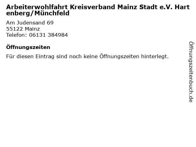 Arbeiterwohlfahrt Kreisverband Mainz Stadt e.V. Hartenberg/Münchfeld in Mainz: Adresse und Öffnungszeiten