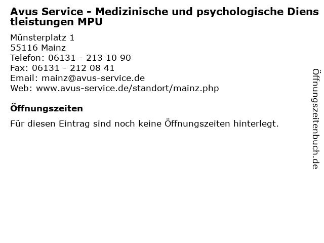 Avus Service - Medizinische und psychologische Dienstleistungen MPU in Mainz: Adresse und Öffnungszeiten
