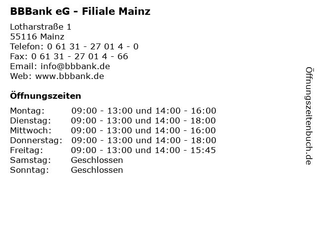 BBBank eG - Filiale Mainz in Mainz: Adresse und Öffnungszeiten