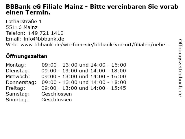 BBBank eG Filiale Mainz in Mainz: Adresse und Öffnungszeiten