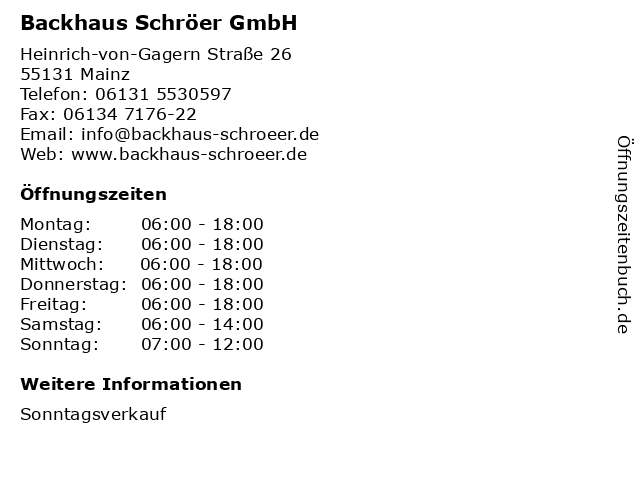 Backhaus Schröer GmbH in Mainz: Adresse und Öffnungszeiten