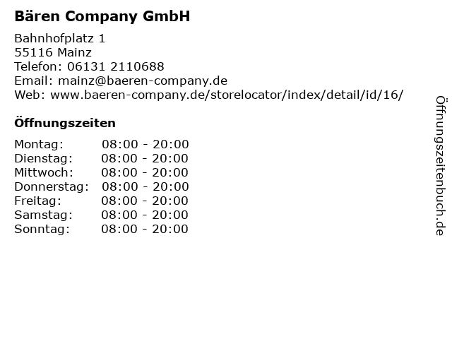Bären Company GmbH in Mainz: Adresse und Öffnungszeiten