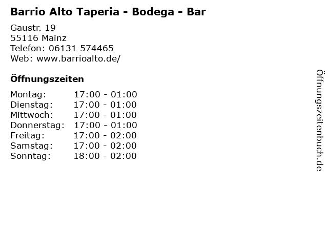 Barrio Alto Taperia - Bodega - Bar in Mainz: Adresse und Öffnungszeiten