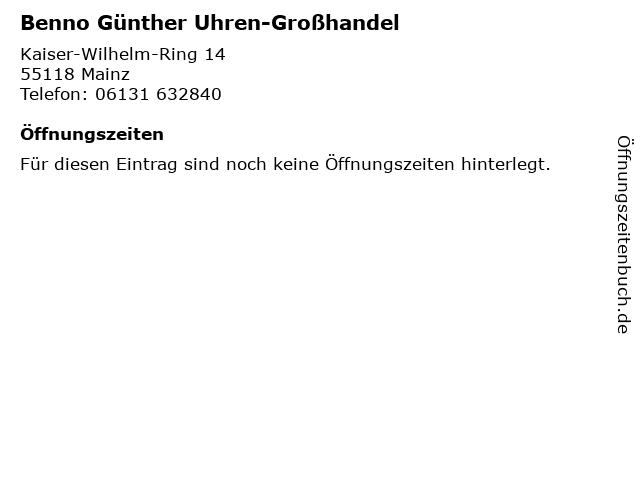 Benno Günther Uhren-Großhandel in Mainz: Adresse und Öffnungszeiten