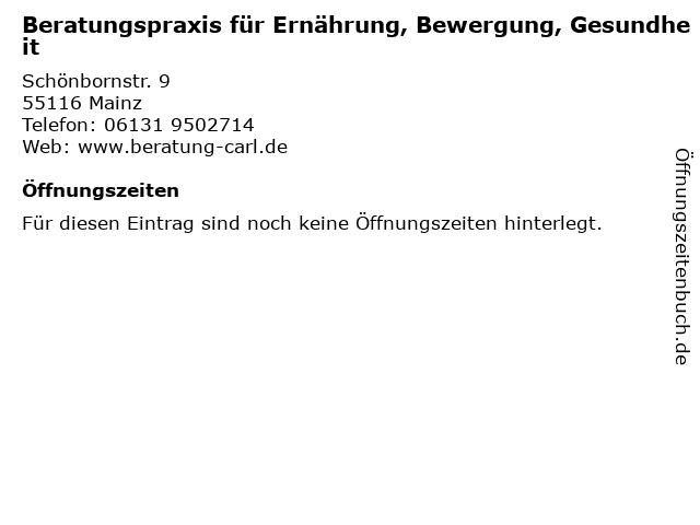 Beratungspraxis für Ernährung, Bewergung, Gesundheit in Mainz: Adresse und Öffnungszeiten