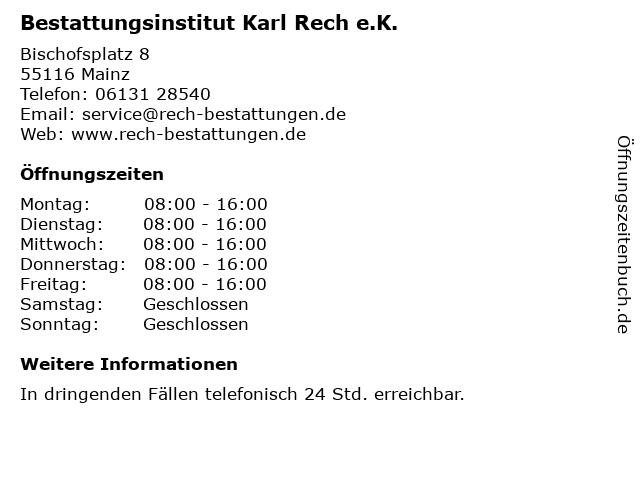 Bestattungsinstitut Karl Rech e.K. in Mainz: Adresse und Öffnungszeiten