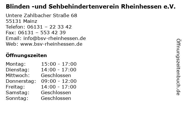 Blinden -und Sehbehindertenverein Rheinhessen e.V. in Mainz: Adresse und Öffnungszeiten