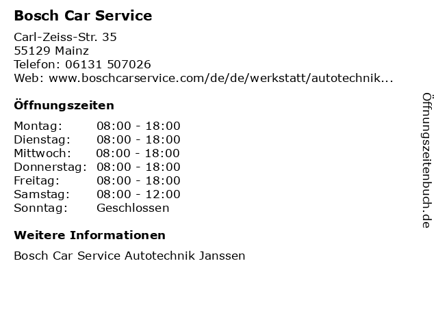 Bosch Car Service in Mainz: Adresse und Öffnungszeiten