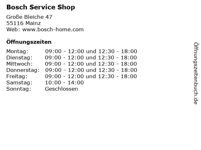 Bosch Service Shop in Mainz: Adresse und Öffnungszeiten