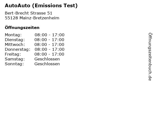 AutoAuto (Emissions Test) in Mainz-Bretzenheim: Adresse und Öffnungszeiten