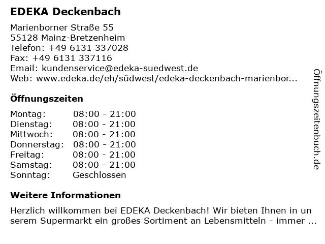 EDEKA Deckenbach in Mainz-Bretzenheim: Adresse und Öffnungszeiten