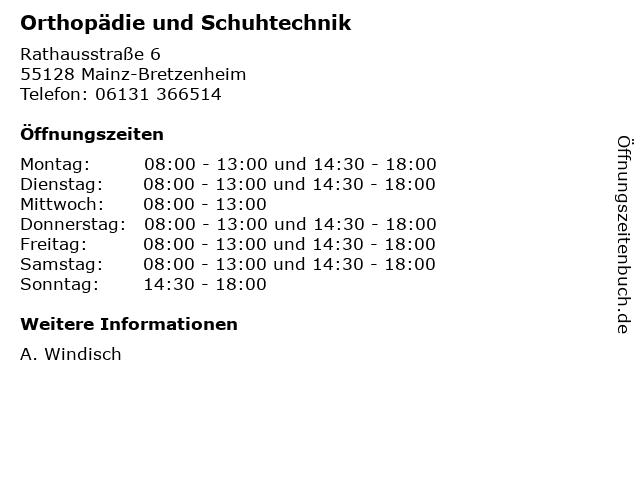 Orthopädie und Schuhtechnik in Mainz-Bretzenheim: Adresse und Öffnungszeiten