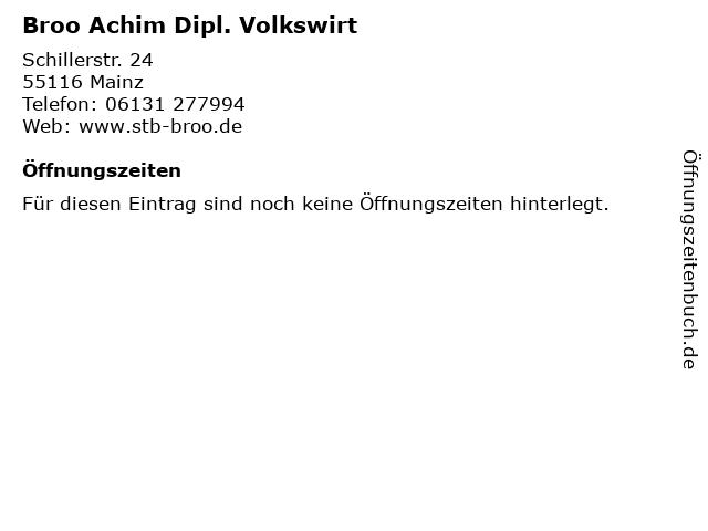Broo Achim Dipl. Volkswirt in Mainz: Adresse und Öffnungszeiten