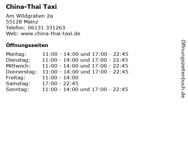China-Thai Taxi in Mainz: Adresse und Öffnungszeiten