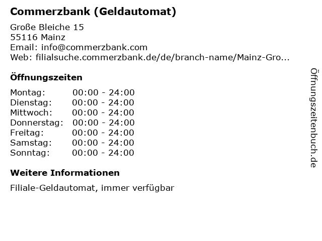 Commerzbank (Geldautomat) in Mainz: Adresse und Öffnungszeiten