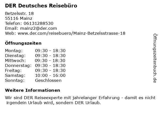DER Deutsches Reisebüro in Mainz: Adresse und Öffnungszeiten