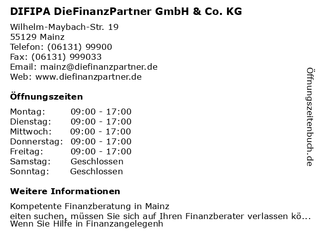 DIFIPA DieFinanzPartner GmbH & Co. KG in Mainz am Rhein: Adresse und Öffnungszeiten