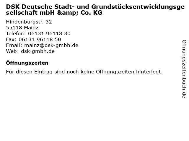 DSK Deutsche Stadt- und Grundstücksentwicklungsgesellschaft mbH & Co. KG in Mainz: Adresse und Öffnungszeiten