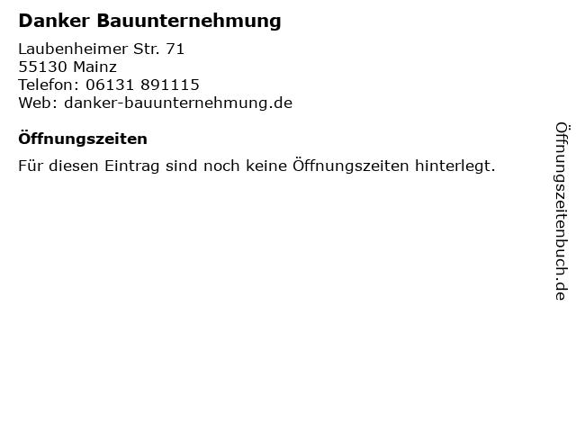Danker Bauunternehmung in Mainz: Adresse und Öffnungszeiten