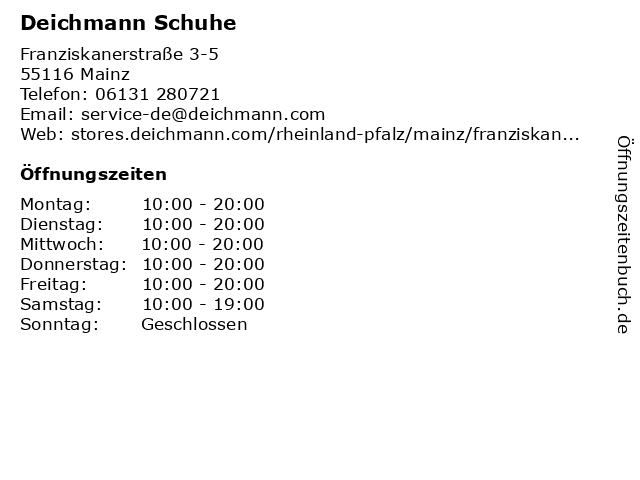 Deichmann SE in Mainz: Adresse und Öffnungszeiten