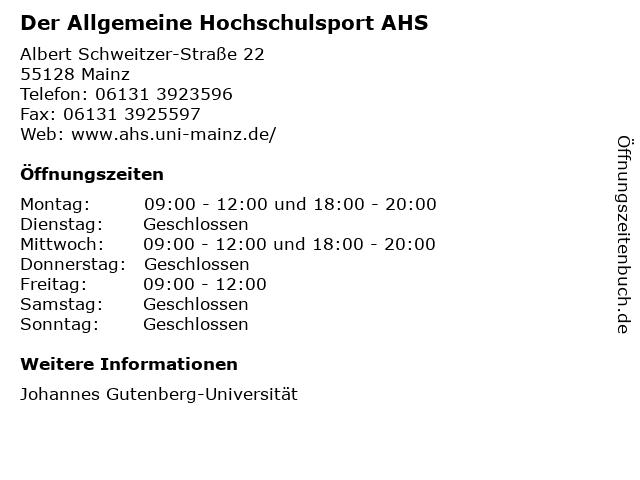 Der Allgemeine Hochschulsport AHS in Mainz: Adresse und Öffnungszeiten