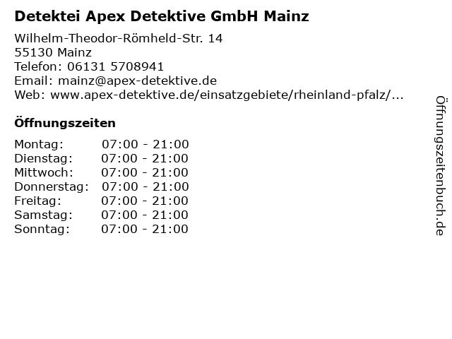 Detektei Apex Detektive GmbH in Mainz: Adresse und Öffnungszeiten