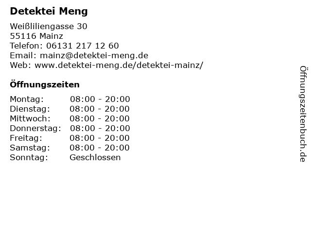 Detektei Meng in Mainz: Adresse und Öffnungszeiten