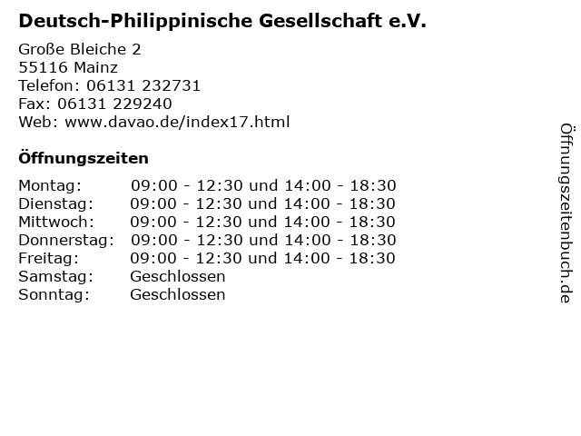 Deutsch-Philippinische Gesellschaft e.V. in Mainz: Adresse und Öffnungszeiten